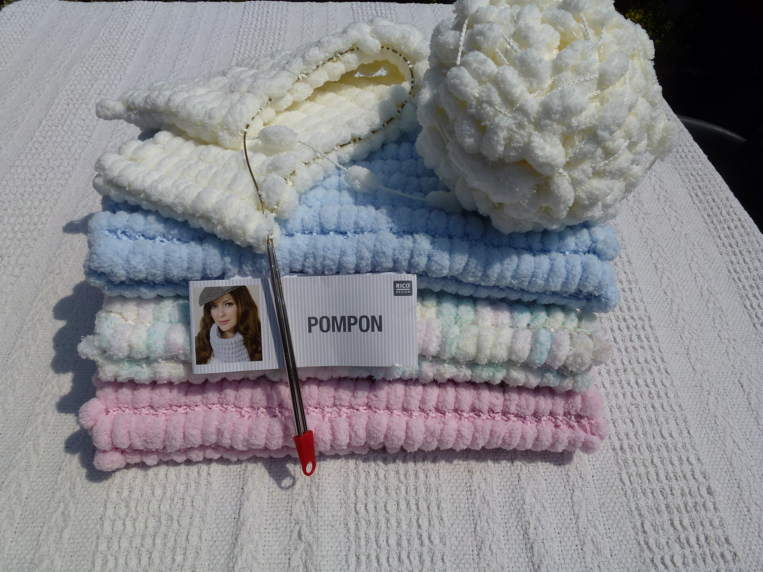 Pompon Yarn Baby Blanket For Moses Basket Pram Or Car