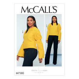 McCall's Misses' Puff Raglan-Sleeve Top and Straight-Leg Pants with Yoke M7580 - Sewing Pattern