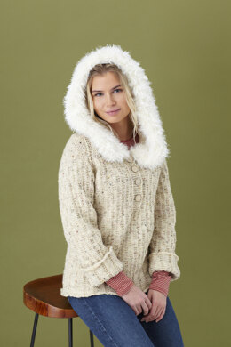 Ladies Sweater with Hood, Sweater with Separate Cowl, and Cowl in King Cole Fashion Aran and Luxury Fur in King Cole - 5447
