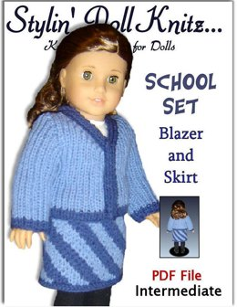 Knitting pattern. Fits American Girl Doll and 18 inch doll. blazer and Skirt. 039
