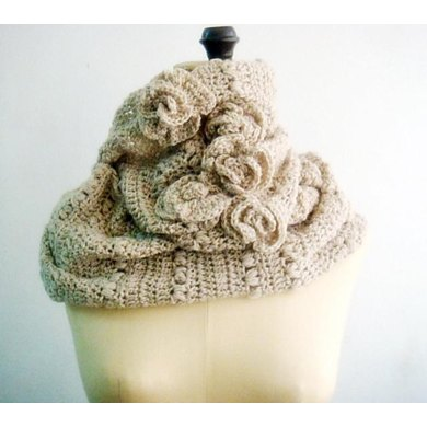 Rustic Crochet Cowl with Roses