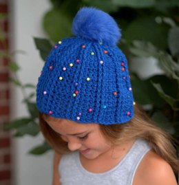 Crochet Dual Ridge Cap in Plymouth Yarn Pom Rox - F582