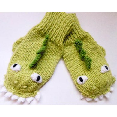 Dinosaur Dragon Mittens Knit Knitting Pattern By Wistfully Woolen
