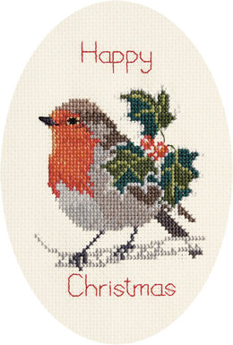 Derwentwater Designs Holly and Robin Greeting Card Cross Stitch Kit - 12.5cm x 18cm