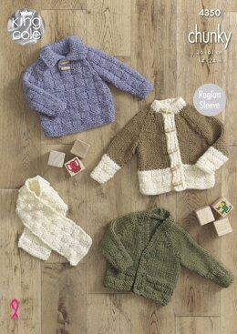 Sweater, Cardigans and Scarf in King Cole Chunky - 4350 - Downloadable PDF