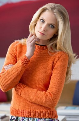 Knit Crew Sweater in Red Heart Soft Solids - LW4109