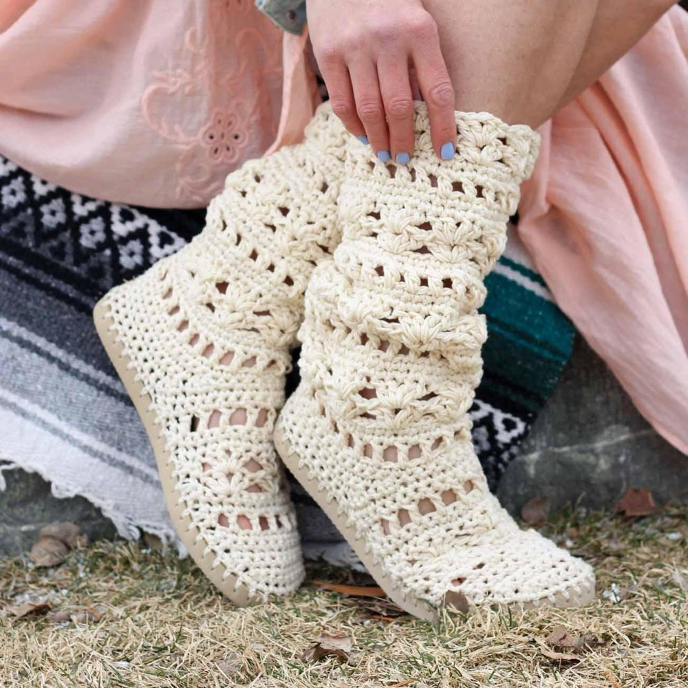 Coachella Boots With Flip Flop Soles Crochet Pattern By Jess Coppom