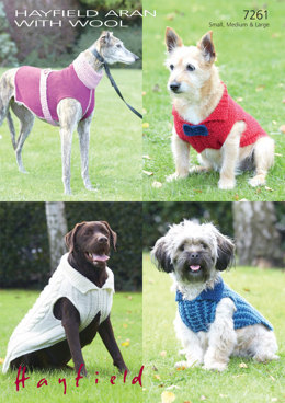 Dog Coats in Hayfield Aran With Wool and Snuggly Snowflake Chunky - 7261 - Downloadable PDF