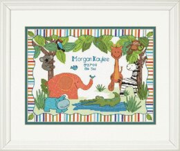 Dimensions Counted Cross Stitch Kit: Birth Record: Mod Zoo