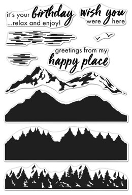 """Hero Arts Color Layering Clear Stamps 4""""X6"""" - Mountains At The Lake"""