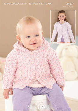 Hooded and Round Neck Cardigans in Sirdar Snuggly Spots DK - 4567