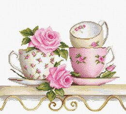 Luca-S Stacked Tea Cups Cross Stitch Kit