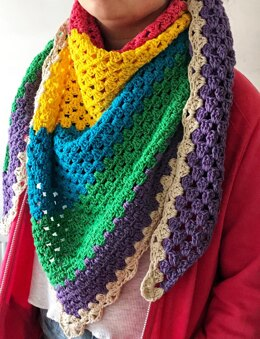 Colour Block Granny Scarf
