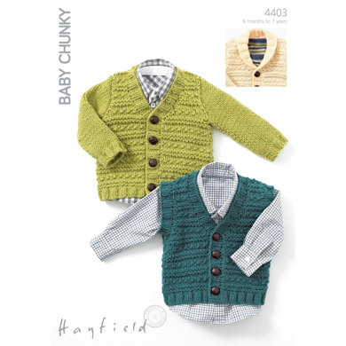 Knitting Pattern Cardigan 4 Year Old : Waistcoat, V Neck Cardigan And Cardigan with Shawl Collar in Hayfield Baby Ch...