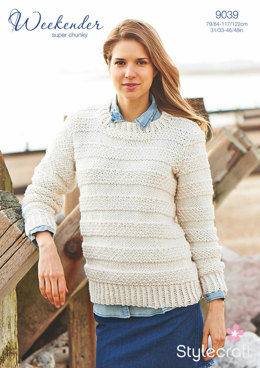 Womens' Sweater with Twisted Ribs in Stylecraft Weekender Super Chunky