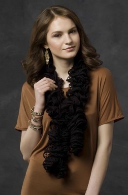 Nighttime Drama Scarf in Red Heart Boutique Sashay - LW3216