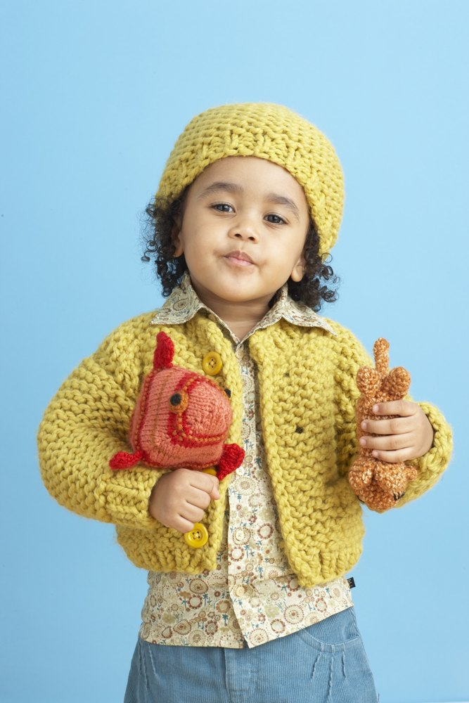 Sandbox Cardi And Hat In Lion Brand Wool Ease Thick
