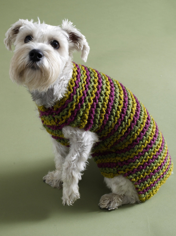 Knitting Patterns For Dog Hoodies : City Stripes Dog Sweater in Lion Brand Wool-Ease Thick & Quick - 80933AD ...