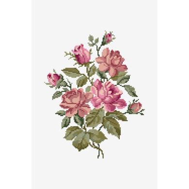 Pink Roses Bouquet in DMC - PAT0678 -  Downloadable PDF