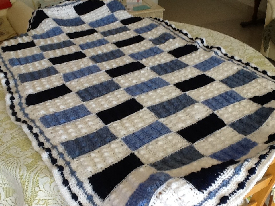 Lucas s blue Lego blanket crochet project by Ann E LoveCrochet