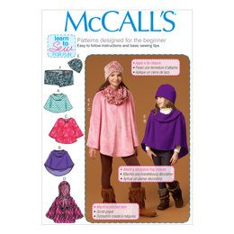 McCall's Children's/Girls' Ponchos, Hat and Scarf M7012 - Sewing Pattern