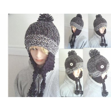 423, KNITTED EARFLAP HAT, age 8 to adult