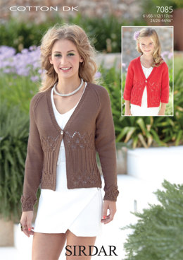 3/4 and Long Sleeved Cardigans in Sirdar Cotton DK - 7085