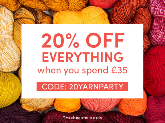 20 percent off EVERYTHING full-priced when you spend £35! Code: 20YARNPARTY