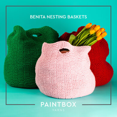 Benita Nesting Baskets - Free Knitting Pattern For Home in Paintbox Yarns Recycled Big Cotton by Paintbox Yarns