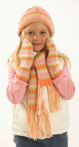 Child's Hat, Scarf & Mittens in Plymouth Encore Worsted - F170