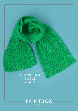 """Chickling Cable Scarf"" - Scarf Knitting Pattern in Paintbox Yarns Cotton DK"