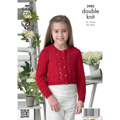 Girls' Cardigan in King Cole Giza Cotton DK - 3902