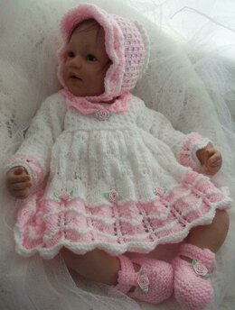 Baby Dress, Bonnet & Shoes Pattern #45