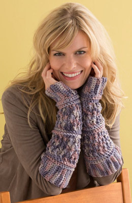 Textured Arm Warmers in Red Heart Super Saver Economy Prints - LW4648 - Downloadable PDF