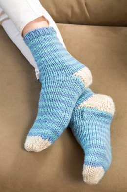 Relax at Home Knit Socks in Red Heart With Love Solids - LW3674