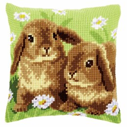 Vervaco Cross Stitch Kit: Cushion: Two Rabbits - 40 x 40cm