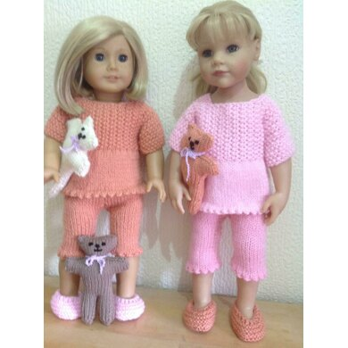 Dolls pyjamas, slippers and teddy
