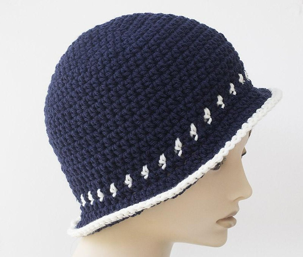 Two Color Flapper Cloche Hat Crochet Pattern By Judith Stalus