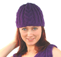 Cabled Hat in Plymouth Encore Worsted - F192