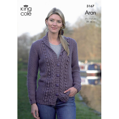 Cardigan and Waistcoat in King Cole Merino Blend Aran - 3167