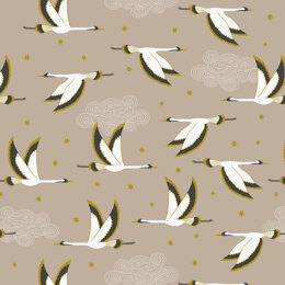Lewis & Irene Jardin De Lis  - Flying heron on beige with gold metallic