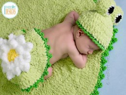 Baby Frog on a Lily Pad Hat Rug and Bum Cover Crochet PDF Pattern