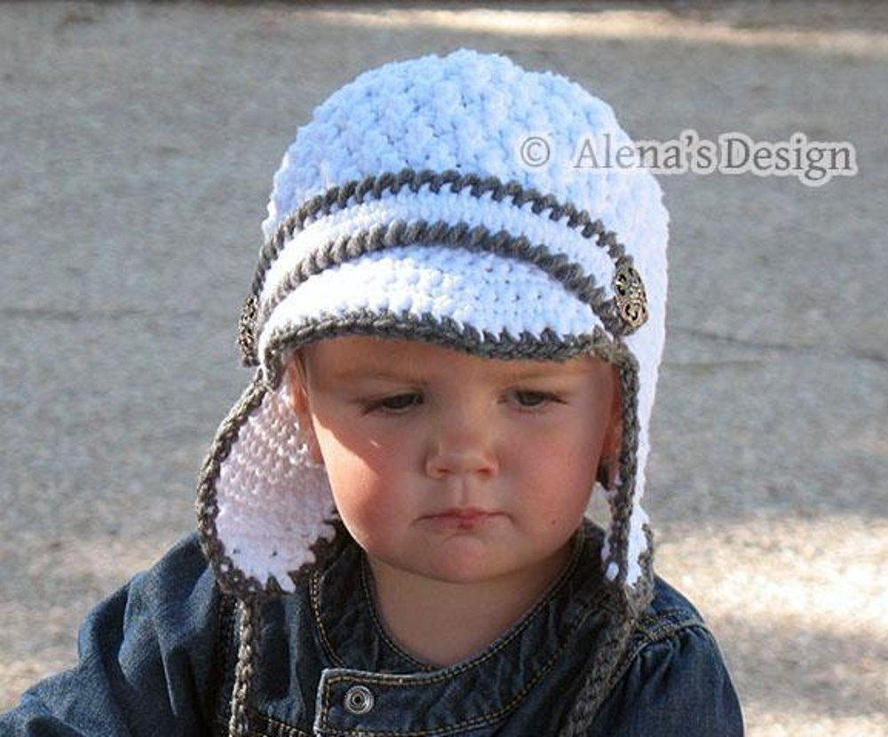 Two Button Visor Hat With Ear Flaps Crochet Pattern By Alena Byers