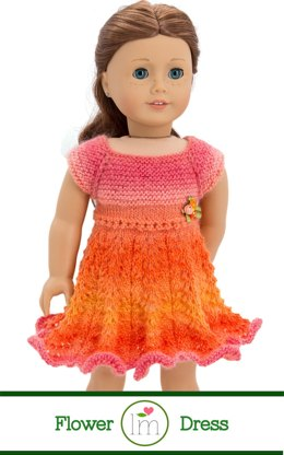 Flower Dress for 18 inch dolls. Doll Clothes Knitting Pattern.