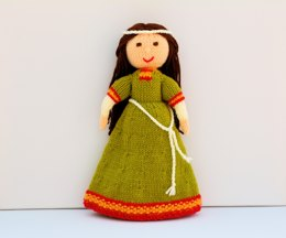 Elvina - An English Romanesque/ Medieval Lady - 1086 - Doll Knitting Pattern