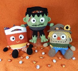 Franken, Candy Corn and Scarecrow Bucket Head Trick or Treat Bags