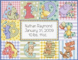 Dimensions Zoo Alphabet Birth Record Cross Stitch Kit - 30cm x 23cm