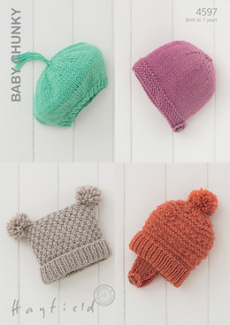Babies and Children Hats in Hayfield Baby Chunky - 4597 - Downloadable PDF