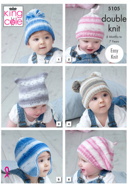 Hats in King Cole Cottonsoft Baby Crush DK - 5105 - Leaflet
