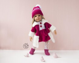 Outfit  Raspberries for 18in doll knitting flat